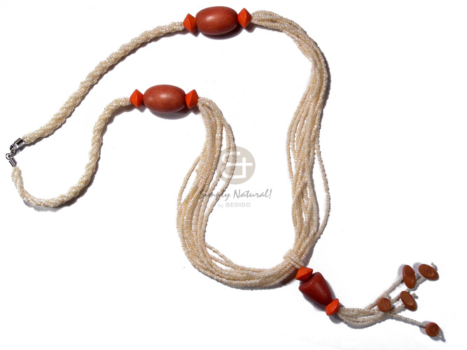 Philippine 9 layers crème pearl beads natural earth color necklace