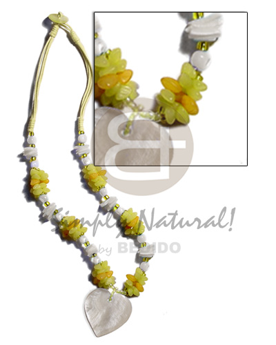 Handmade yellow 3 layer wax cord necklace with pendant