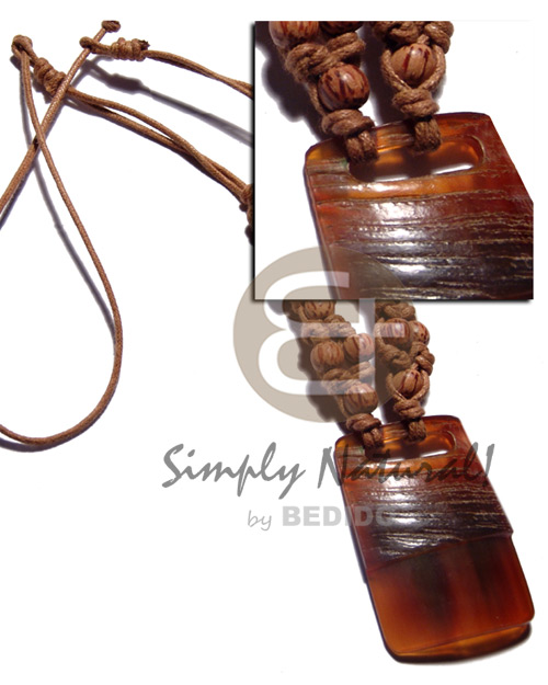 Philippine 40mmx50mm carabao amber horn pendant necklace with pendant