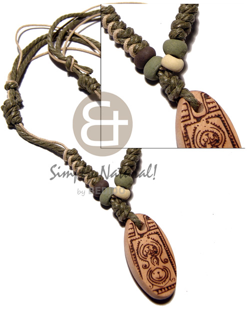 Natural 4 layers wax cord in necklace with pendant
