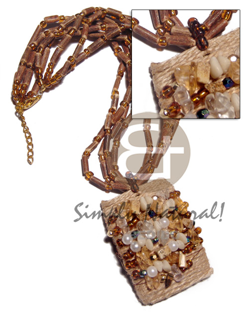Ethnic 4 rows sig-id amber necklace with pendant