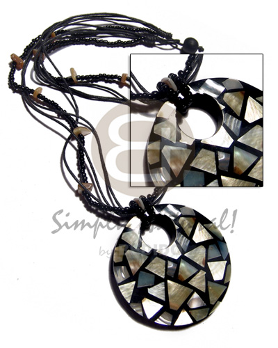 Ethnic 60mm round mop chips inlaid necklace with pendant