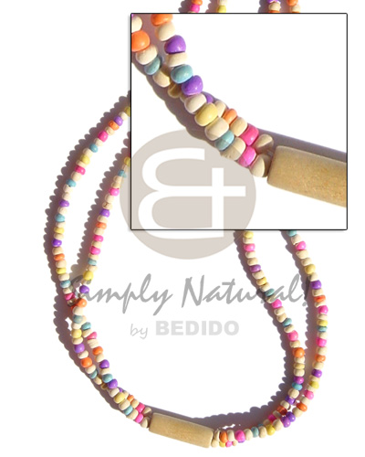 Ethnic 2 rows candy colored pastel color necklace