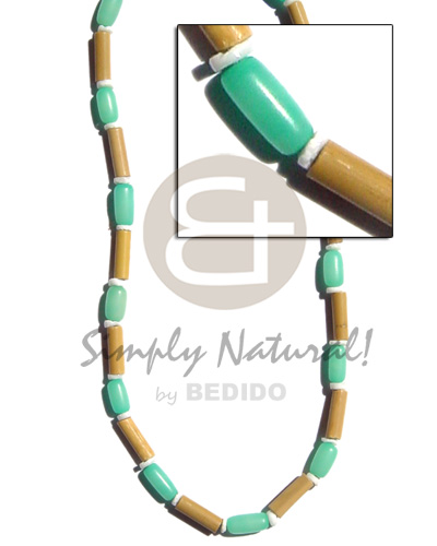 Ladies bamboo tube pastel green pastel color necklace