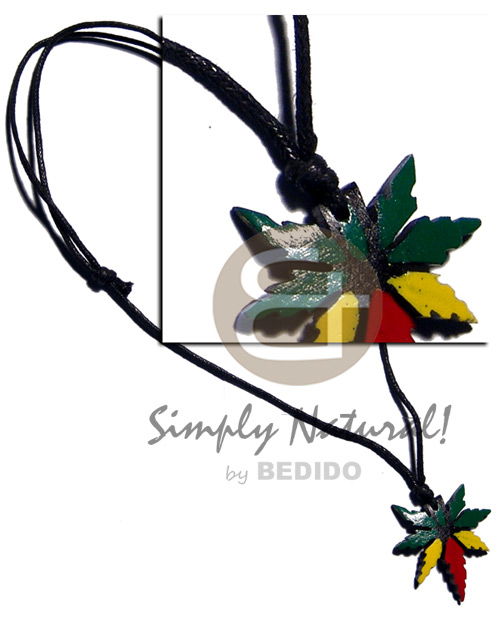 Ethnic 35mm coco rasta mj pendant rasta necklace