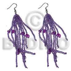 Teens dangling lavender glass beads resin earrings