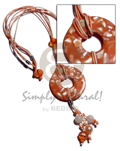 Natural 3 layers orange crème wax cord resin necklace stone necklace