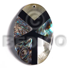 Handmade 55mmx35mm aminated oval paua blacklip shell resin pendants