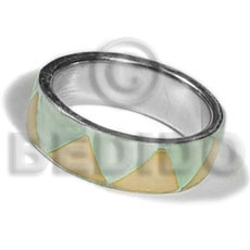 Unisex inlaid hammershell in stainless 10mm rings