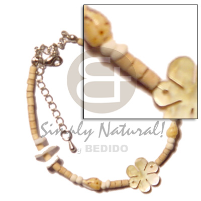 Native 2-3 coco heishe natural shell anklets
