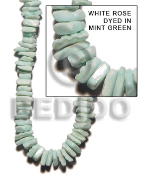 Handmade white rose dyed in mint shell beads