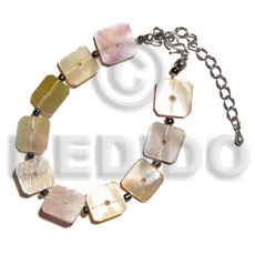 Natural floating mop squares shell bracelets