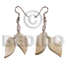 Natural dangling double leaf hammershell 25mm shell earrings
