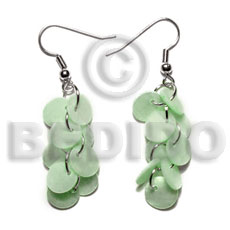 Philippine dangling multiple pastel green round shell earrings