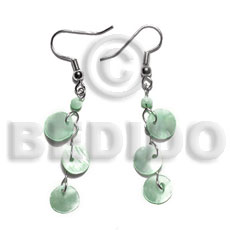 Fashion dangling triple 10mm pastel green shell earrings