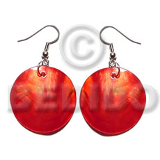 Philippines dangling red kabibe round 30mm shell earrings