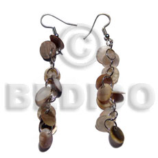 Teens dangling round hammershell skin shell earrings