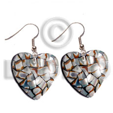Philippines dangling heart 35mm laminated cowrie shell earrings
