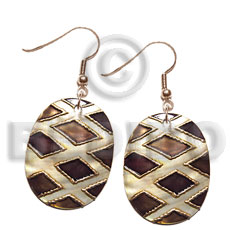 Philippines dangling 30mmx25mm oval kabibe shell shell earrings
