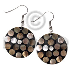 Handmade dangling flat 35mm black round shell earrings