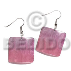 Ladies dangling 25mm square hammershell pendant shell earrings