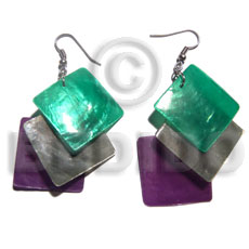 Cebu dangling triple square 25mm laminated shell earrings