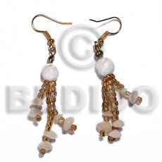 Philippines dangling glass beads and buri shell earrings