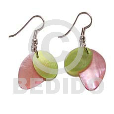 Philippines pink green dangling hammershell shell earrings
