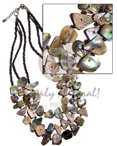 Cebu 3 rows multilayered paua shell necklace