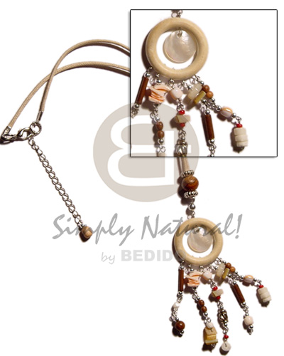 Fashion natural wood ring dangling shell necklace