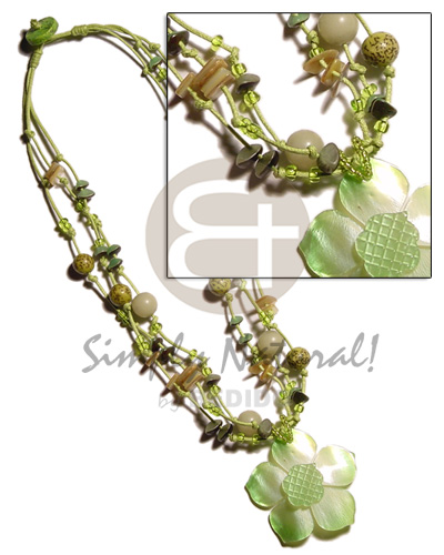 Ethnic 3 layer knotted lime wax shell necklace