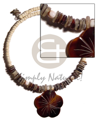 Philippine 4-5mm bleach coco pokalet. choker shell necklace