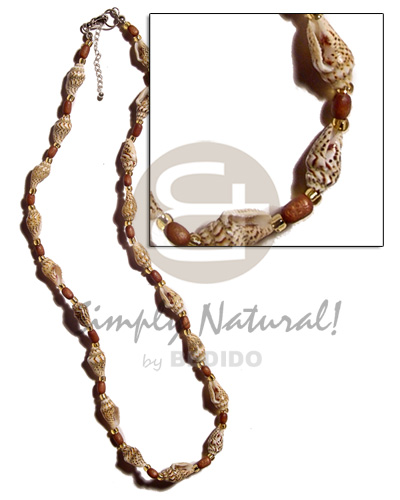 Teens nassa tiger rice wood shell necklace