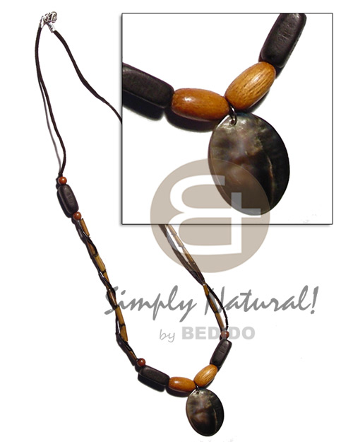 Natural bamboo wax cord wood beads shell necklace
