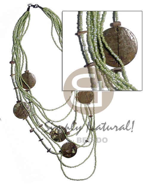 Native 5 rows graduated multilayered shell necklace