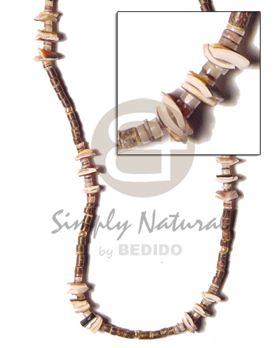 Unisex 2-3 nat brown coco heishe shell necklace