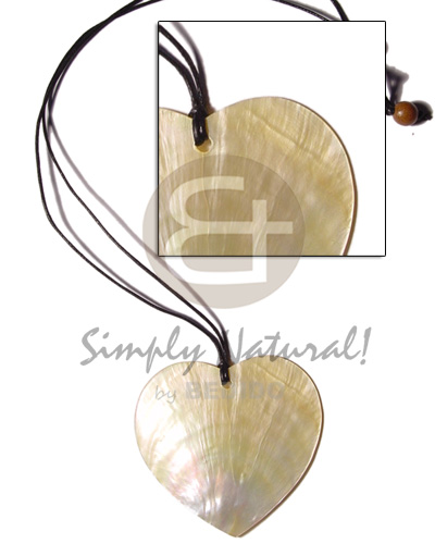 Unisex cord 50mm heart mop shell necklace