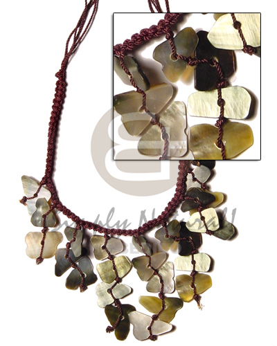 Handmade dark brown macramie dangling shell necklace