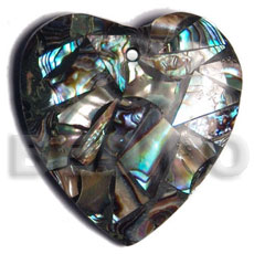 Native 45mm heart laminated paua chips shell pendant