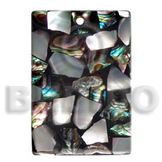 Ladies 45mmx30mm laminated paua kabibe chips shell shell pendants