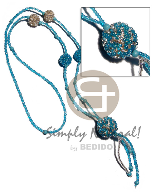 Fashion tassled single row aqua clear glass tassled necklace