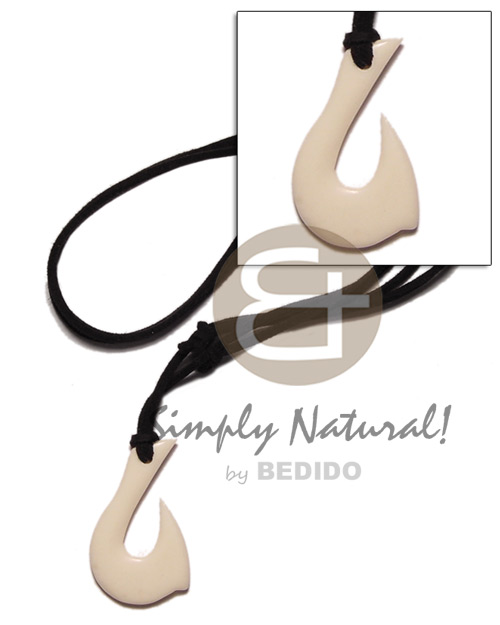 Wholesale white carabao bone hook 40mm teens necklace