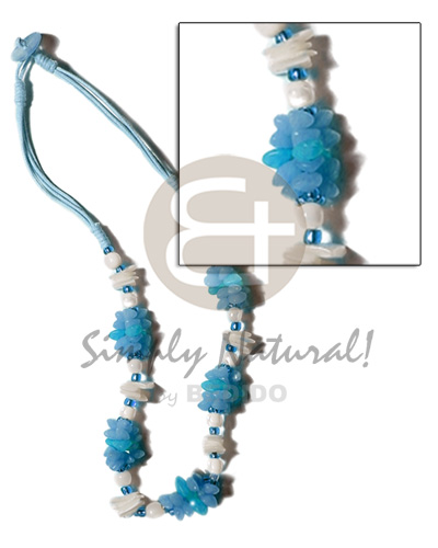 Philippine aqua blue 3 layer wax teens necklace