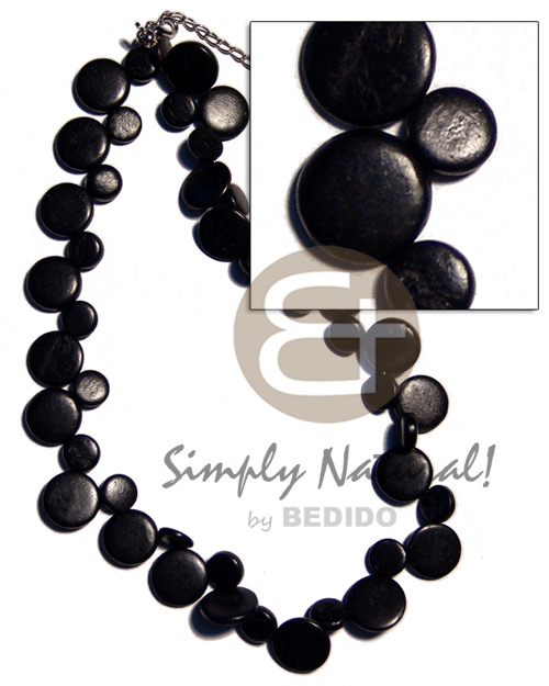 Ethnic single row black coco sidedrill teens necklace