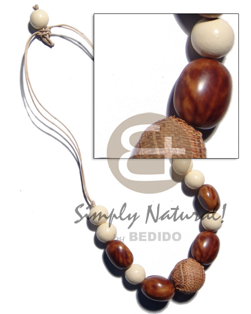 Handmade 15mm buffed white wood beads teens necklace