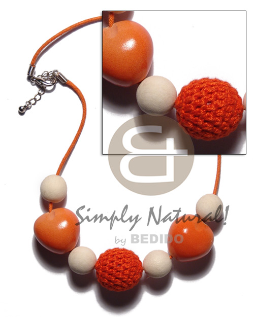 Natural 20mm round orange crochet wood teens necklace
