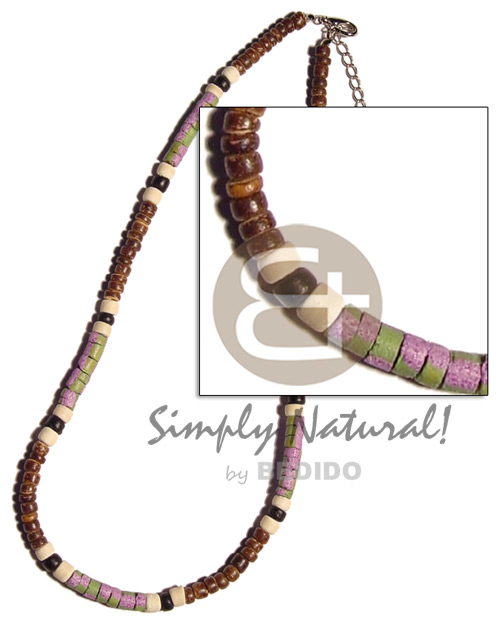 Ethnic 4-5mm coco pokalet. natural brown teens necklace