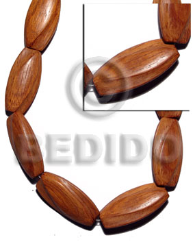 Ladies 52mmx25mmx10mm bayong groove twisted wood beads