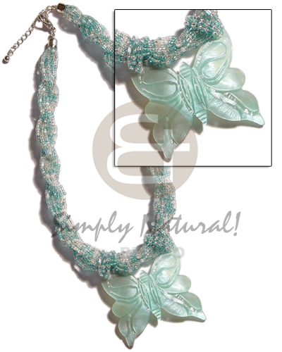 Native 12 rows aqua blue twisted womens necklace