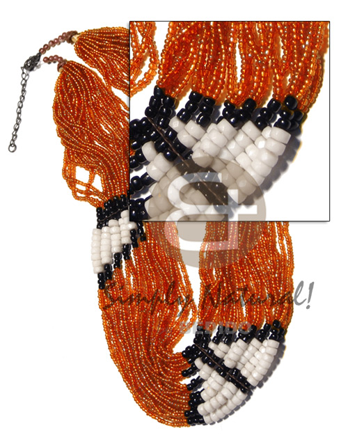Philippines 27 rows orange glass beads womens necklace